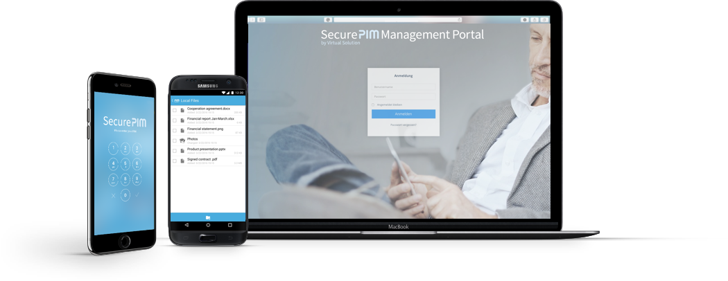 SecurePIM App and Management Portal Screens on iPhone and Macbook